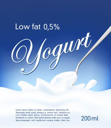 drinking milk: Yogurt cream wave, blue background, milk