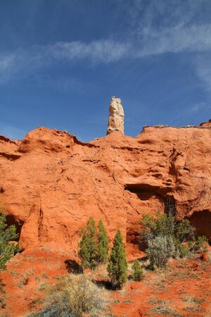 View of the red rock formations in Kodachrome Basin with blue skys and clouds