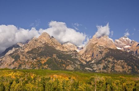 Fall in Grand Teton National Park With blue sky and clouds