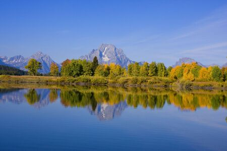 oxbow bend: Oxbow Bend in Grand Teron National Park showing fall colors