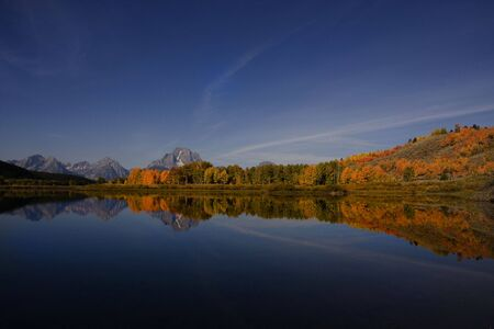 oxbow bend: Oxbow Bend in Grand Teton National Park  Just Before Dark Stock Photo