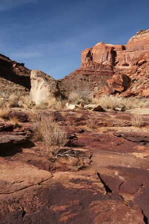 san rafael swell:  View of the red rock formations in San Rafael Swell with blue sky�s and clouds  Stock Photo
