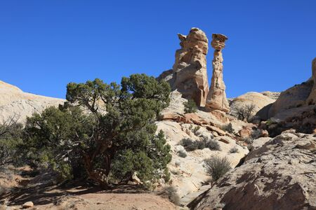 View of red rock formations in San Rafael Swell with blue sky's