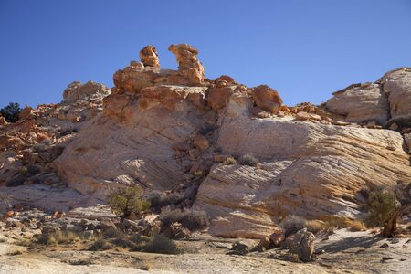 san rafael swell: View of red rock formations in San Rafael Swell with blue sky�s