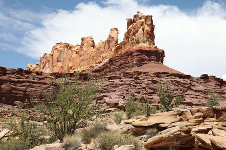san rafael swell: View of red rock formations in San Rafael Swell with blue sky�s the and clouds