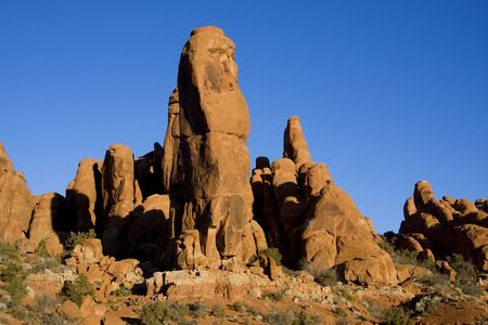 View of the red rock formations in Arches National Park with blue sky's