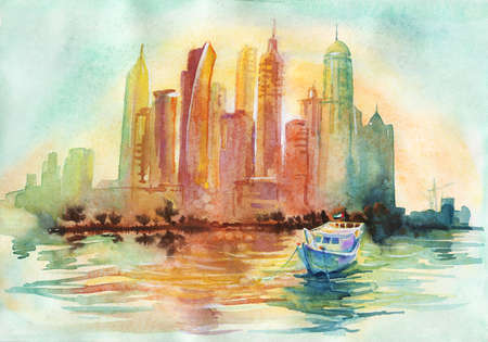 Hand drawn sunset Dubai, sea and skyscrapers. Painting Arab Emirates cityscape. Watercolor background outdoor illustration