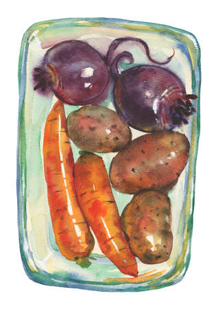 Watercolor carrots, potatoes, beets. Painting root crop in dishes. Hand drawn vegetable illustration 写真素材 - 129157767
