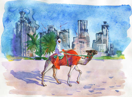 Painting arabian man riding a camel. Hand drawn cityscape of Dubai, Arab Emirates. Watercolor illustration in freehand style Фото со стока
