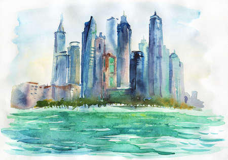 Watercolor Arab Emirates cityscape. Hand drawn Dubai, sea and skyscrapers. Painting background illustration