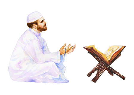 Watercolor arabian man praying namaz. Hand drawn Ramadan Kareem illustration. Painting koran and prayer with beads Stock Photo