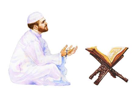 Watercolor arabian man praying namaz. Hand drawn Ramadan Kareem illustration. Painting koran and prayer with beads Foto de archivo