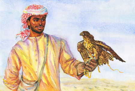 Watercolor portrait of arabian man with falcon. Painting realistic illustration
