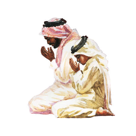 Watercolor portrait of man with son praying namaz. Hand drawn isolated muslim illustration Stock Photo
