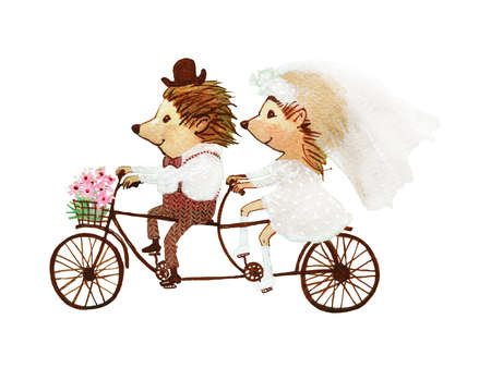 Watercolor couple of hedgehogs. Hand drawn greeting card with cartoon characters in vintage style. Painting cute wedding illustration