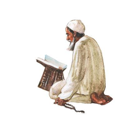 Watercolor arabian old man praying namaz. Hand drawn Ramadan Kareem illustration. Painting realistic portrait