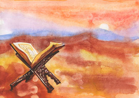Watercolor koran, central religious text of Islam. Painting illustration with desert and book Stock Photo