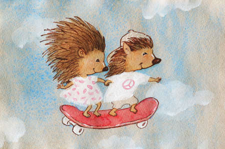 Watercolor couple of hedgehogs on a skateboard. Hand drawn greeting card with cartoon characters. Painting cute children illustration Archivio Fotografico - 129158786