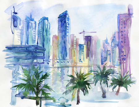 Hand drawn Arab Emirates cityscape. Watercolor Dubai, Marina walk, palms and skyscrapers. Painting background illustration Archivio Fotografico - 129158791
