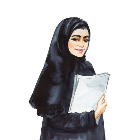 Watercolor portrait of arabian woman. Painting smiling young lady. Hand drawn illustration on white background Archivio Fotografico - 129158788