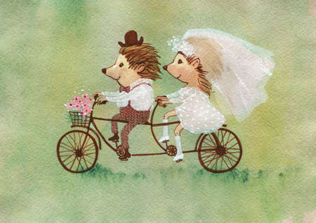 Watercolor couple of hedgehogs. Hand drawn greeting card with cartoon characters. Painting cute wedding illustration  in vintage style Archivio Fotografico - 129158801