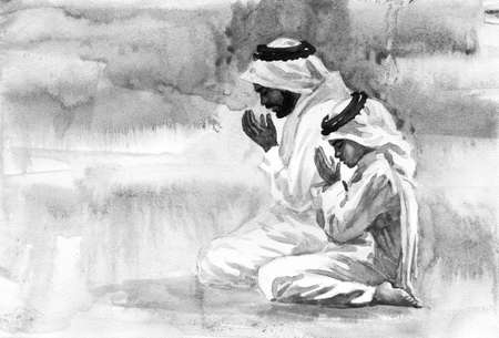 Watercolor arabian man and boy praying namaz. Hand drawn Ramadan Kareem illustration. Painting portrait of father and son Archivio Fotografico - 129158885