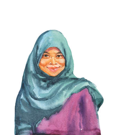Hand drawn asian muslim woman in traditional clothing. Watercolor portrait of smiling lady. Painting isolated illustration on white background