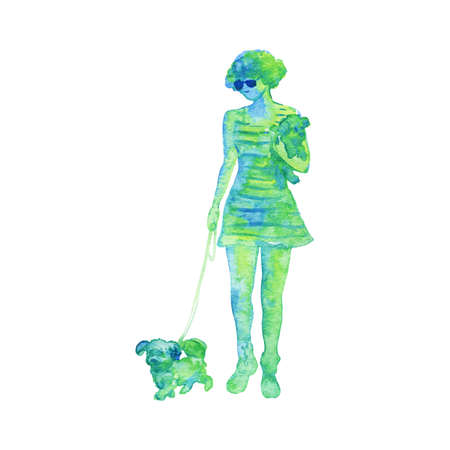 Watercolor silhouette of walking woman with dogs. Hand drawn lady on white background. Painting abstract isolated illustration