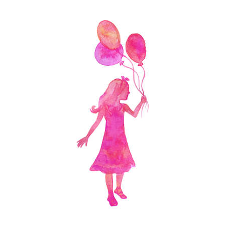 Watercolor girl with balloons. Hand drawn silhouette of kid on white background. Painting abstract isolated illustration Zdjęcie Seryjne