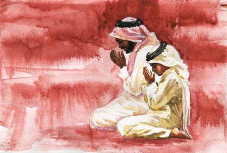 Watercolor portrait of man with son praying namaz. Hand drawn muslim illustration
