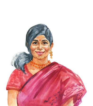 Hand drawn indian woman in traditional clothing. Watercolor portrait of smiling lady. Painting isolated illustration on white background Stock Photo