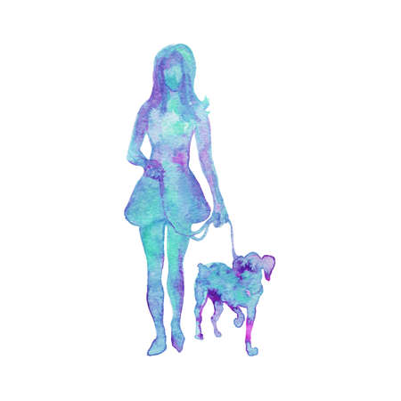Watercolor silhouette of walking woman with dog. Hand drawn lady on white background. Painting abstract isolated illustration Stock fotó - 131708036