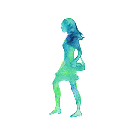 Watercolor silhouette of walking woman. Hand drawn lady on white background. Painting abstract isolated illustration Zdjęcie Seryjne
