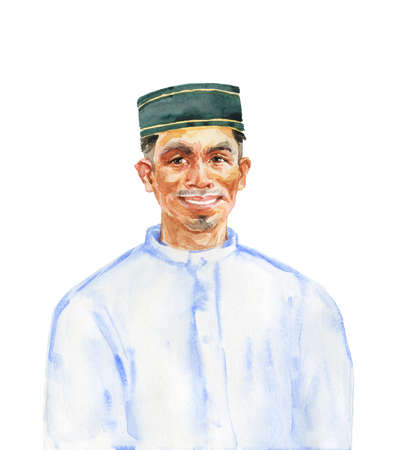 Watercolor asian muslim man. Hand drawn realistic portrait. Painting isolated illustration on white background