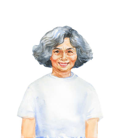Hand drawn asian senior woman. Watercolor portrait of smiling lady. Painting isolated illustration on white background Stock Photo