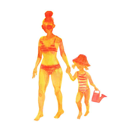 Hand drawn mother and daughter. Watercolor silhouettes on the beach. Painting set of abstract people, isolated illustration on white background