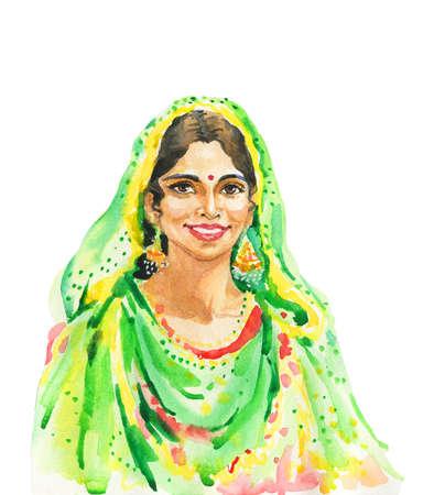 Hand drawn indian young woman in traditional clothing. Watercolor portrait of smiling lady. Painting isolated illustration on white background Stock Photo