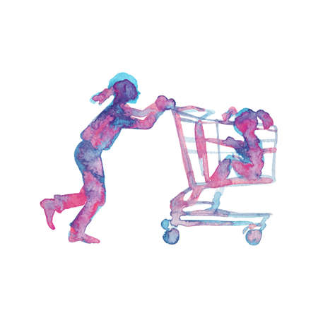 Watercolor girls in the grocery store. Hand drawn silhouette of children with shopping cart on white background. Painting abstract isolated illustration Stock fotó - 131709195