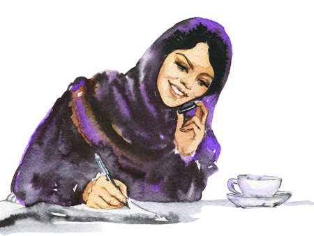 Painting arabian business woman talking a phone. Watercolor portrait of modern and free muslim lady. Hand drawn feminist illustration on white background