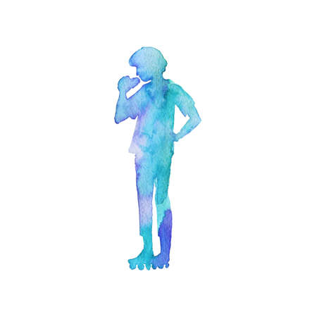 Watercolor roller skating boy silhouette. Painting teenager on the rink. Hand drawn abstract man, isolated illustration on white background Imagens