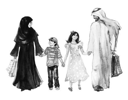 Watercolor portrait of arabian family. Hand drawn father, mother, son and daughter after shopping. Painting illustration with smiling happy people