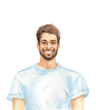 Painting smiling european man. Hand drawn realistic portrait. Watercolor illustration on white background