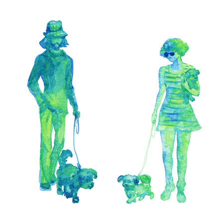 Watercolor silhouette of walking couple with dog. Hand drawn people on white background. Painting isolated illustration