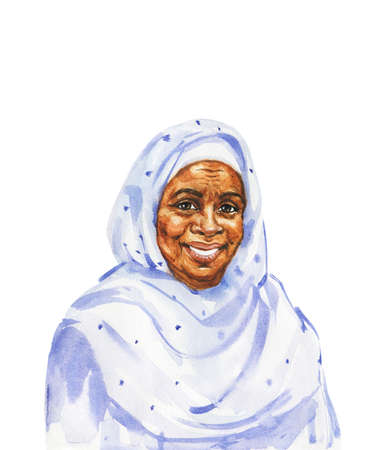 Hand drawn african aged woman. Watercolor portrait of smiling muslim lady. Painting isolated illustration on white background Banco de Imagens