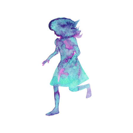 Watercolor silhouette of running girl. Hand drawn kid on white background. Painting abstract isolated illustration Zdjęcie Seryjne