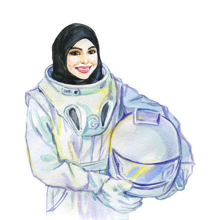 Hand drawn arabian woman astronaut. Watercolor portrait of modern and free muslim lady. Sketching feminist illustration on white background Reklamní fotografie