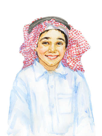 Hand drawn smiling arabian boy. Watercolor realistic child portrait. Painting isolated illustration on white background Reklamní fotografie