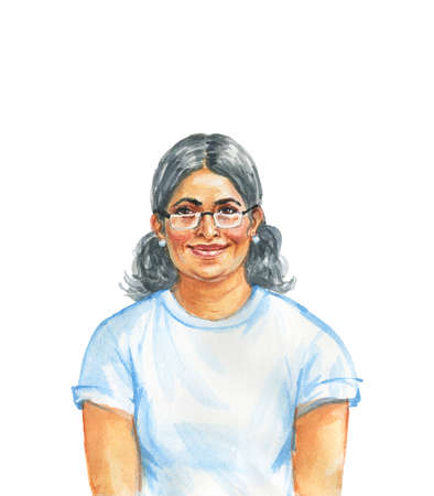 Hand drawn aged indian woman. Watercolor portrait of smiling lady. Painting isolated illustration on white background Stock Photo