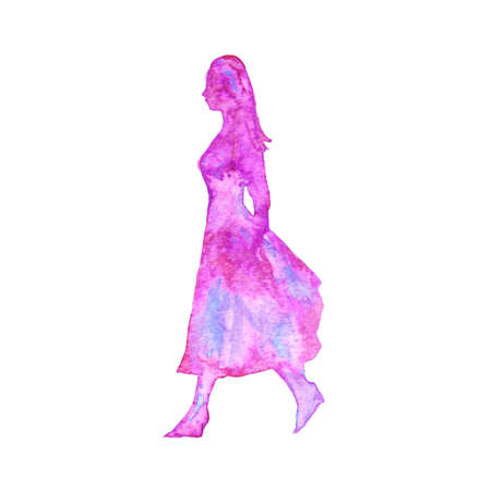 Watercolor silhouette of walking woman. Hand drawn lady on white background. Painting isolated illustration