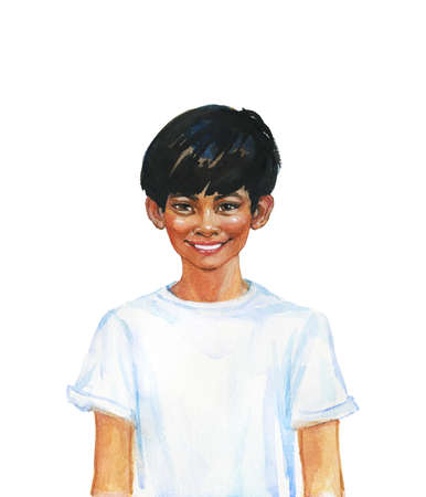 Hand drawn asian boy. Watercolor portrait of smiling teenager. Painting isolated illustration on white background
